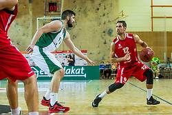 Jure Lalic of KK Krka Novo mesto vs Sandi Cebular of KK Tajfun Sentjur during basketball match between KK Krka Novo mesto and KK Tajfun Sentjur at Superpokal 2015, on September 26, 2015 in SKofja Loka, Poden Sports hall, Slovenia. Photo by Grega Valancic / Sportida.com
