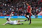 Matteo Darmian (36) of Manchester United slides in to tackle Nathan Ake (5) of AFC Bournemouth during the Premier League match between Bournemouth and Manchester United at the Vitality Stadium, Bournemouth, England on 18 April 2018. Picture by Graham Hunt.