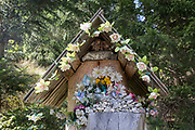 A shrine to Polish-born Pope John Paul II, on 17th September 2019, in Dolina Chocholowska, near Zakopane Malopolska, Poland. Jan Pawel II; born Karol Jozef Wojtyla (1920-2005) was head of the Catholic Church and sovereign of the Vatican City State from 1978 to 2005.