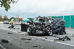 © Licensed to London News Pictures.  30/09/2017; Wiltshire, UK. Scene of crash between a lorry and a car which closed the M4 westbound in Wiltshire. Two people have been killed in the incident at 05:00 BST near junction 17 at Leigh Delamere .v Highways England is reporting that the M4 westbound between J17 (Chippenham) and J18 (Bath) will be closed until at least 4.30pm. A separate accident at junction 15 near Marlborough has also closed two lanes and diversions are in place. Picture credit : Simon Chapman/LNP