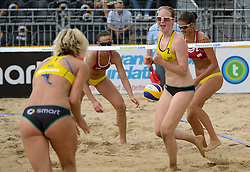 16-07-2014 NED: FIVB Grand Slam Beach Volleybal, Apeldoorn<br /> Poule fase groep G vrouwen - Alexandra Moiseeva (1), Ekaterina Syrtseva (2) RUS, Laura Ludwig (1), Julia Sude (2) GER