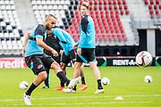ALKMAAR - 19-10-2016, training persconferentie AZ, AFAS Stadion, AZ speler Iliass Bel Hassani, AZ speler Wout Weghorst
