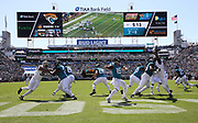Oct 13, 2019; Jacksonville, FL USA;  Jacksonville Jaguars quarterback Gardner Minshew (15) throws a pass during an NFL game against the New Orleans Saints at TIAA Bank Field in Jacksonville, FL. The Saints beat the Jaguars 13-6. (Steve Jacobson/Image of Sport)
