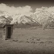 Mormon Row Outhouse - Grand Tetons, WY - Sepia Black & White