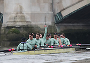 London, Great Britain,  Cambridge, Feute,  celebrate winning the BNY Mellon, 2016 University Men's Boat Race, Putney to Mortlake. ENGLAND. <br /> <br /> Sunday 13.12.2015<br /> <br /> [Mandatory Credit; Peter Spurrier/Intersport-images]<br /> <br /> CUBC Trial VIII's between FUERTE on Surrey and LISTO on Middlesex<br /> <br /> FUERTE, Bow, Peter Carey, 2, Patrick Elwood, 3, Alister Taylor, 4, Peter Rees, 5, Charlie Fisher, 6, Ali Abbasi, 7, Luke Juckett, Stroke, Lance Tredell, Cox, Ian Middleton<br /> <br /> LISTO, Bow, Piers Kasas, Felix Newman, 3, Sam Ringer, 4, Joe Carroll, 5, Clemens Auersperg, 6, Vincent Bertram, 7, Henry Hoffstot, Stroke, Ben Ruble, Cox, Hugo Ramambason