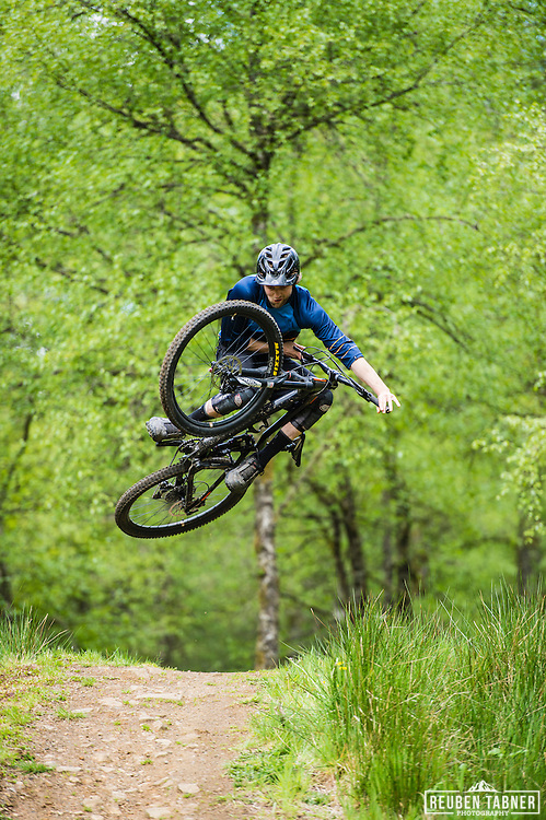 Ed Thomsett goes big at Kielder Forest on his Vitus Sommet CR.