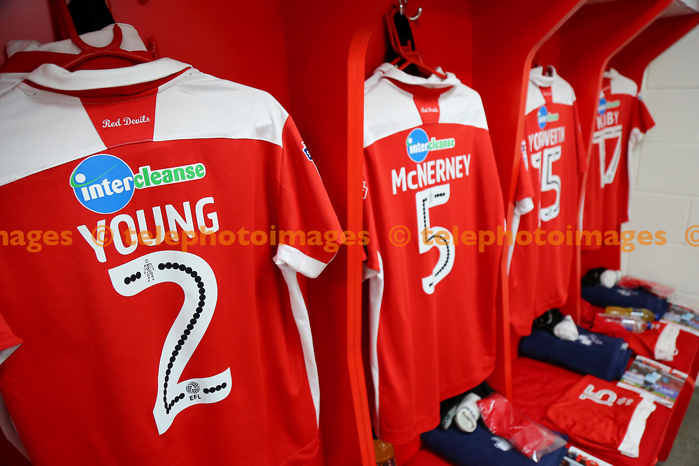 The dressing room before  the Checkatrade Trophy match between Crawley Town and Charlton Athletic at the Checkatrade Stadium in Crawley. 29 Aug 2017