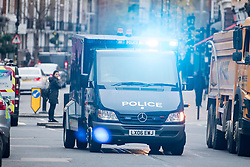 © Licensed to London News Pictures. 06/12/2017. London, UK. An armoured Police vehicle carrying terror suspects Naa'imur Zakariyah Rahman, 20, and Mohammed Aqib Imran, 21, arrives at Westminster Magistrates Court in London where they are accused of plotting an attack at Downing Street to kill British prime minister Theresa May. Photo credit: Ben Cawthra/LNP