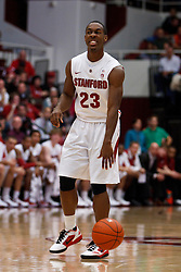 Dec 22, 2011; Stanford CA, USA;  Stanford Cardinal guard Gabriel Harris (23) dribbles the ball against the Butler Bulldogs during the first half at Maples Pavilion.  Butler defeated Stanford 71-66. Mandatory Credit: Jason O. Watson-US PRESSWIRE