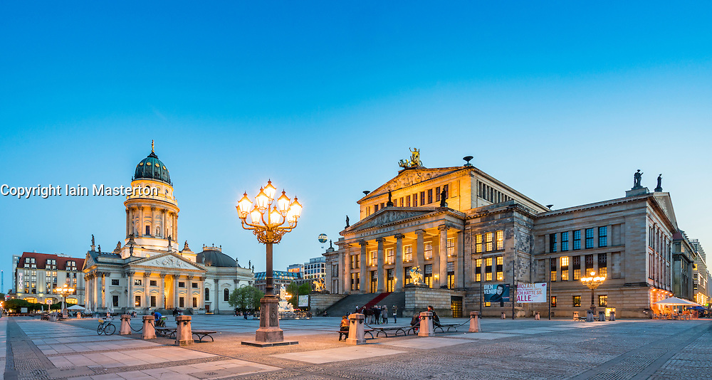 View of Gendarmenmarkt square in the evening in Mitte Berlin Germany