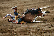062010-Evergreen, COLORADO-sundayprca-Justin Pollmiller, of Littleton, CO, is thrown to the ground atop his horse during the Bareback Riding competition at the 2010 Evergreen Rodeo Sunday, June 20, 2010 at the El Pinal Arena..Photo By Matthew Jonas/Evergreen Newspapers/Photo Editor