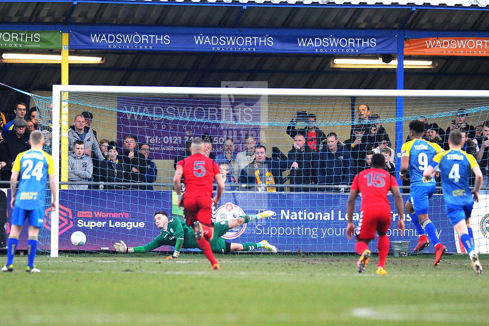 TELFORD COPYRIGHT MIKE SHERIDAN 23/2/2019 - Andy Wycherley of AFC Telford saves a penalty during the FA Trophy quarter final fixture between Solihull Moors and AFC Telford United at the Automated Technology Group Stadium