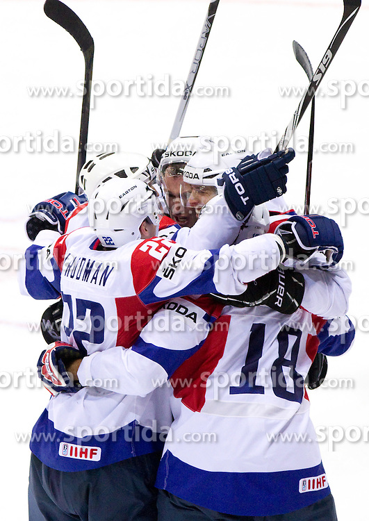 Players of Slovenia celebrate during ice-hockey match between Austria and Slovenia of Group G in Relegation Round of IIHF 2011 World Championship Slovakia, on May 7, 2011 in Orange Arena, Bratislava, Slovakia. (Photo By Vid Ponikvar / Sportida.com)