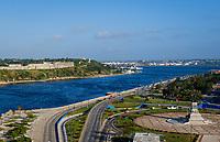 HAVANA, CUBA - CIRCA JANUARY 2020: Aerial view of Havana. Parque Martires del 71, Av. del Puerto, and Canal de Entrada.
