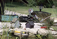 A g-scale train moves around a pond in the front yard of Jerry and Lynne Humston during the open garden tour for garden railroad clubs from Cincinnati, Columbus and Indianapolis, Sunday, July 15, 2007.  Trains also fill most of the backyard.