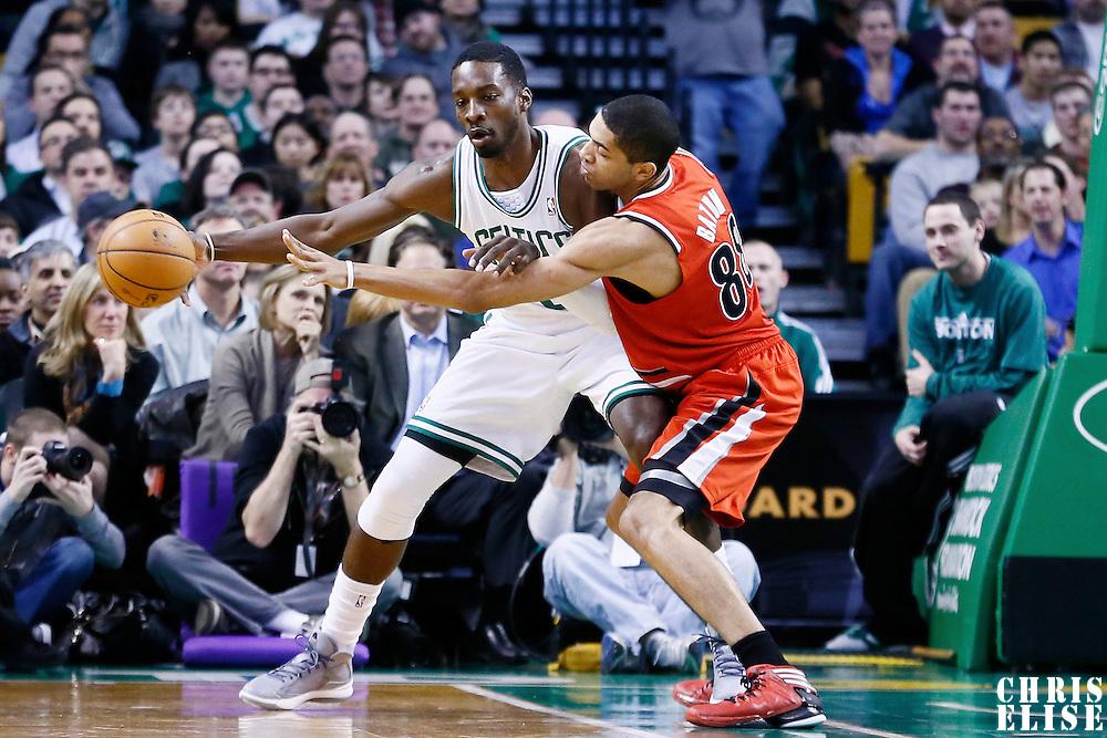 30 November 2012: Portland Trail Blazers small forward Nicolas Batum (88) defends on Boston Celtics power forward Jeff Green (8) during the Boston Celtics 96-78 victory over the Portland Trail Blazers at the TD Garden, Boston, Massachusetts, USA.