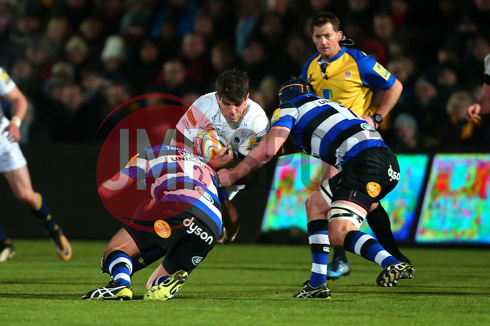 Donncha O'Callaghan of Worcester Warriors is tackled - Mandatory by-line: Robbie Stephenson/JMP - 05/01/2018 - RUGBY - Sixways Stadium - Worcester, England - Worcester Warriors v Bath Rugby - Aviva Premiership