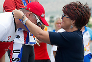 (R) Jolanta Kwasniewska - Former First Lady of Poland while medal ceremony after cycling competition during 2011 Special Olympics World Summer Games Athens on June 27, 2011..The idea of Special Olympics is that, with appropriate motivation and guidance, each person with intellectual disabilities can train, enjoy and benefit from participation in individual and team competitions...Greece, Athens, June 27, 2011...Picture also available in RAW (NEF) or TIFF format on special request...For editorial use only. Any commercial or promotional use requires permission...Mandatory credit: Photo by © Adam Nurkiewicz / Mediasport