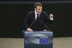 April 17, 2018 - Strasbourg, France - French President Emmanuel Macron delivers his speech at the European Parliament in Strasbourg, eastern France, Tuesday, April 17, 2018. Macron is expected to outline his vision for the future of Europe to push for deep reforms of the 19-nation eurozone and will launch a drive to seek European citizens' opinions on the European Union's future. (Credit Image: © Elyxandro Cegarra/NurPhoto via ZUMA Press)