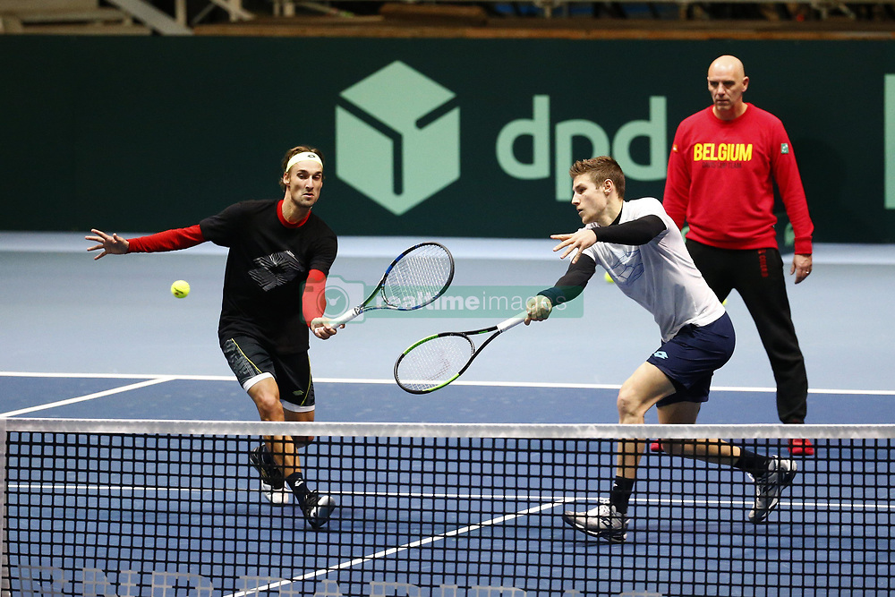 November 21, 2017 - Lille, France - LILLE, FRANCE - NOVEMBER 21 :  Joris De Loore and Ruben Bemelmans and Johan Ven Herck during the training session of the Belgian Davis Cup team  before the Davis Cup World Group Final match between France and Belgium on November 21, 2017 in Lille, France, 21/11/2017. (Credit Image: © Panoramic via ZUMA Press)