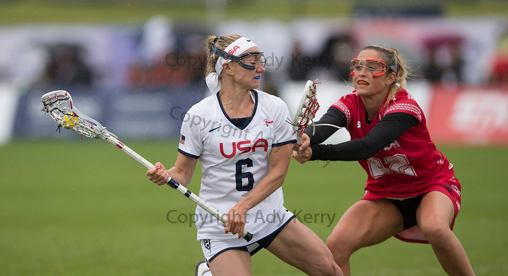 USA's Laura Zimmerman is closed down by Canada's Taylor Gait during the World Cup Final at the 2017 FIL Rathbones Women's Lacrosse World Cup, at Surrey Sports Park, Guildford, Surrey, UK, 22nd July 2017.
