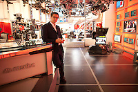 "Chris Hayes on the set of his MSNBC television show "" UP with Chris Hayes"" in Rockefeller Center in New York. . . Photo by Robert Caplin"