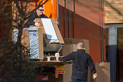 © Licensed to London News Pictures. 08/02/2020. Milton Keynes, UK. A refrigeration unit is offloaded from a lorry at the Kents Hill Park Training and Conference Centre. A Milton Keynes conference centre is to house evacuees from the Chinese city of Wuhan, the epicentre of the Novel Coronavirus (2019-nCoV) outbreak, the British citizens are due to be flown back on Sunday 9th February and are expected to land at RAF Brize Norton in Oxfordshire and will remain at the conference centre for 14 days to be monitored. Photo credit: Peter Manning/LNP