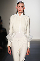 Nimue Smit walks down runway in F2012 Peter Som's collection, New York, Feb 10, 2012