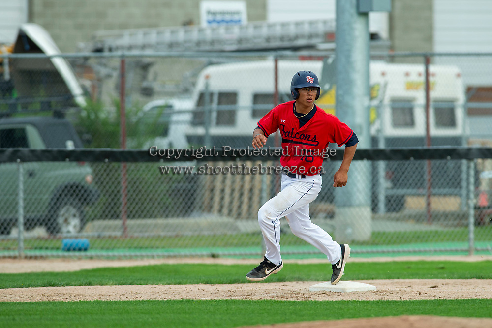 KELOWNA, BC - JULY 06: Marvcus Guarin #16 of the Kelowna Falcons rounds third base against the Walla Walla Sweets at Elks Stadium on July 6, 2019 in Kelowna, Canada. (Photo by Marissa Baecker/Shoot the Breeze)