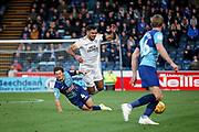 Peterborough United defender Ryan Tafazolli (5) is fouled by Wycombe Wanderers Dominic Gape(4) during the EFL Sky Bet League 1 match between Wycombe Wanderers and Peterborough United at Adams Park, High Wycombe, England on 3 November 2018.