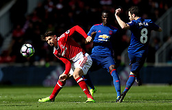 Gaston Ramirez of Middlesbrough tackles Juan Mata of Manchester United - Mandatory by-line: Robbie Stephenson/JMP - 19/03/2017 - FOOTBALL - Riverside Stadium - Middlesbrough, England - Middlesbrough v Manchester United - Premier League