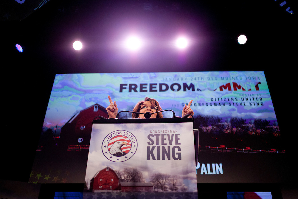 Former Alaska Governor Sarah Palin speaks to a conservative crowd at the Iowa Freedom Summit at Hoyt Sherman Place in Des Moines, Iowa on Saturday, January 24, 2015.