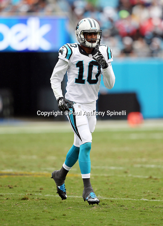 Carolina Panthers wide receiver Corey Brown (10) goes in motion during the 2015 NFL week 3 regular season football game against the New Orleans Saints on Sunday, Sept. 27, 2015 in Charlotte, N.C. The Panthers won the game 27-22. (©Paul Anthony Spinelli)