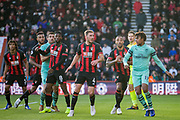 Alex Iwobi (Arsenal) & AFC Bournemouth FC players awaiting the ball from a corner during the Premier League match between Bournemouth and Arsenal at the Vitality Stadium, Bournemouth, England on 25 November 2018.