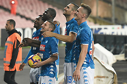 November 2, 2018 - Naples, Naples, Italy - SSC Napoli Players celebrates at the end of the match during the Serie A TIM match between SSC Napoli and Empoli FC at Stadio San Paolo Naples Italy on 2 November 2018. (Credit Image: © Franco Romano/NurPhoto via ZUMA Press)