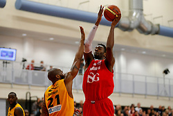 Alif Bland of Bristol Flyers is challenged by John Barber of Sheffield Sharks - Photo mandatory by-line: Rogan Thomson/JMP - 07966 386802 - 07/03/2015 - SPORT - BASKETBALL - Bristol, England - SGS Wise Arena - Bristol Flyers v Sheffield Sharks - BBL Championship.