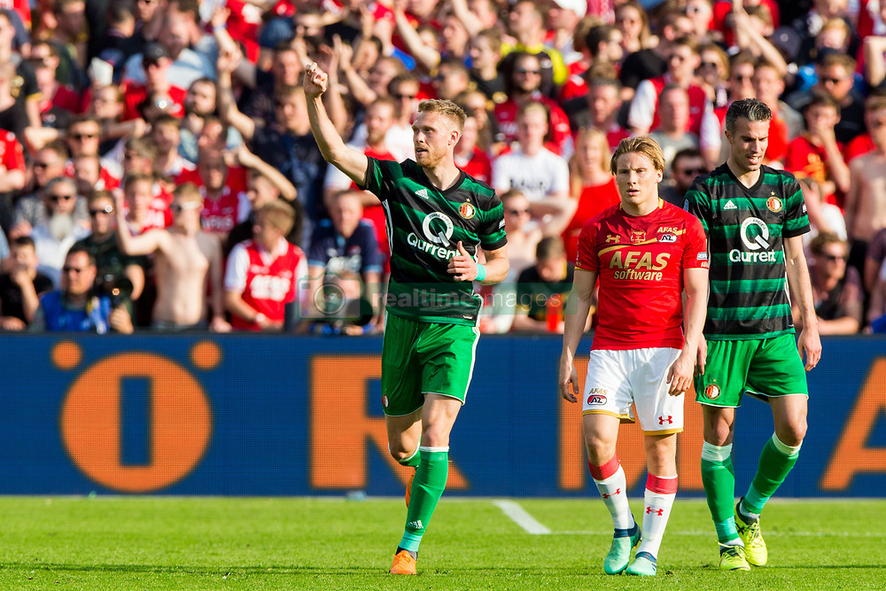 Nicolai Jorgensen of Feyenoord, Jonas Svensson of AZ, Robin van Persie of Feyenoord during the Dutch Toto KNVB Cup Final match between AZ Alkmaar and Feyenoord on April 22, 2018 at the Kuip stadium in Rotterdam, The Netherlands.