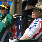 Carol Campling, Australia, (left) and her sister Gail Lovera-Benedetti, France, who represent different countries  during the 2009 ITF Super-Seniors World Team and Individual Championships at Perth, Western Australia, between 2-15th November, 2009.