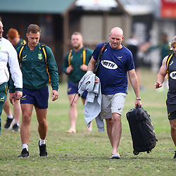 DURBAN, SOUTH AFRICA - AUGUST 13: Matt Proudfoot (Forward Coach) of South Africa with Ivan van Zyl - Jacques Nienaber (Defence Coach) of South Africa and Faf de Klerk during the South African national rugby team training session at  Jonsson Kings Park on August 13, 2018 in Durban, South Africa. (Photo by Steve Haag/Gallo Images)