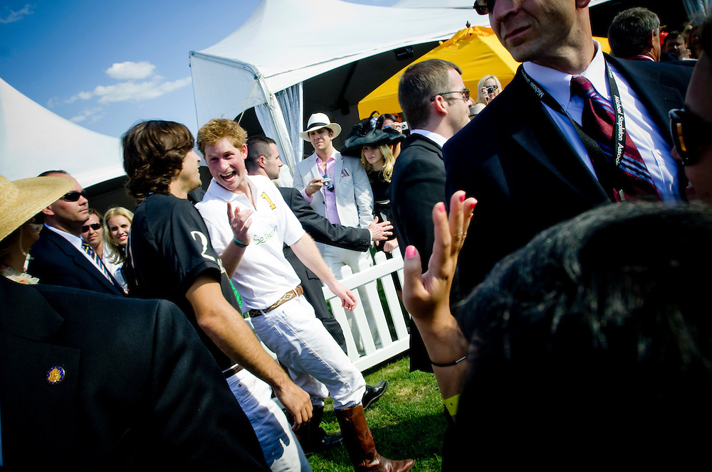 Prince Harry and Nacho Figueras talking after the match in The 2009 Veuve Clicquot Manhattan Polo Classic.