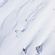Forrest Jillson and Andrew Whiteford ski a powder 8 descent in the Teton backcountry in honor of the cancelled competition.