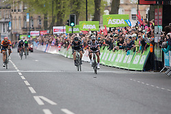 Coryn Rivera (USA) of Team Sunweb pips Giorgia Bronzini (ITA) of Wiggle Hi5 Cycling Team for second during the Tour de Yorkshire - a 122.5 km road race, between Tadcaster and Harrogate on April 29, 2017, in Yorkshire, United Kingdom.