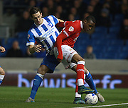 Bristol City striker Jonathan Kodjia shields the ball from Brighton central defender Lewis Dunk during the Sky Bet Championship match between Brighton and Hove Albion and Bristol City at the American Express Community Stadium, Brighton and Hove, England on 20 October 2015. Photo by Bennett Dean.