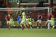 Craig Woodman heads the assist for Exeter's equaliser during the EFL Sky Bet League 2 match between Crewe Alexandra and Exeter City at Alexandra Stadium, Crewe, England on 20 February 2018. Picture by Graham Holt.