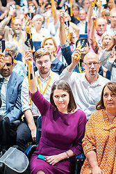 © Licensed to London News Pictures . 15/09/2019. Bournemouth, UK. Lib Dem members , including leader JO SWINSON , vote to support a motion to revoke article 50 should they form the next government. The Liberal Democrat Party Conference at the Bournemouth International Centre . Photo credit: Joel Goodman/LNP