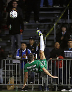 ATLANTA, GA - NOVEMBER 09:  Forward Stefan Dimitrov #17 of the New York Cosmos does a bicycle kick to clear the ball during the 2013 Soccer Bowl against the Atlanta Silverbacks at Atlanta Silverbacks Park on November 9, 2013 in Atlanta, Georgia.  (Photo by Mike Zarrilli/Getty Images for New York Cosmos)