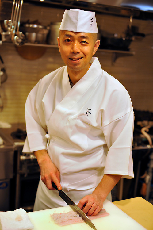 Japanese chef Junichi Watanabe who opened up the restaurant Hiroo Ichie after working in stocks for years...Mr Watanabe in his restaurant