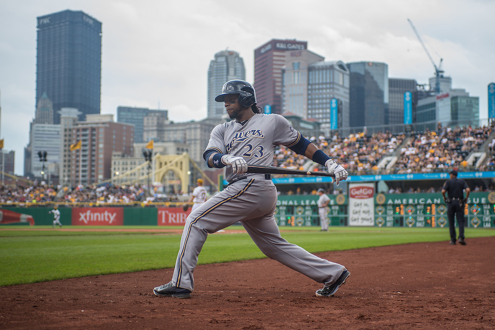 PITTSBURGH, PA - JUNE 08: Rickie Weeks #23 of the Milwaukee Brewers warms up during the game against the Pittsburgh Pirates at PNC Park on June 8, 2014 in Pittsburgh, Pennsylvania. (Photo by Rob Tringali) *** Local Caption *** Rickie Weeks