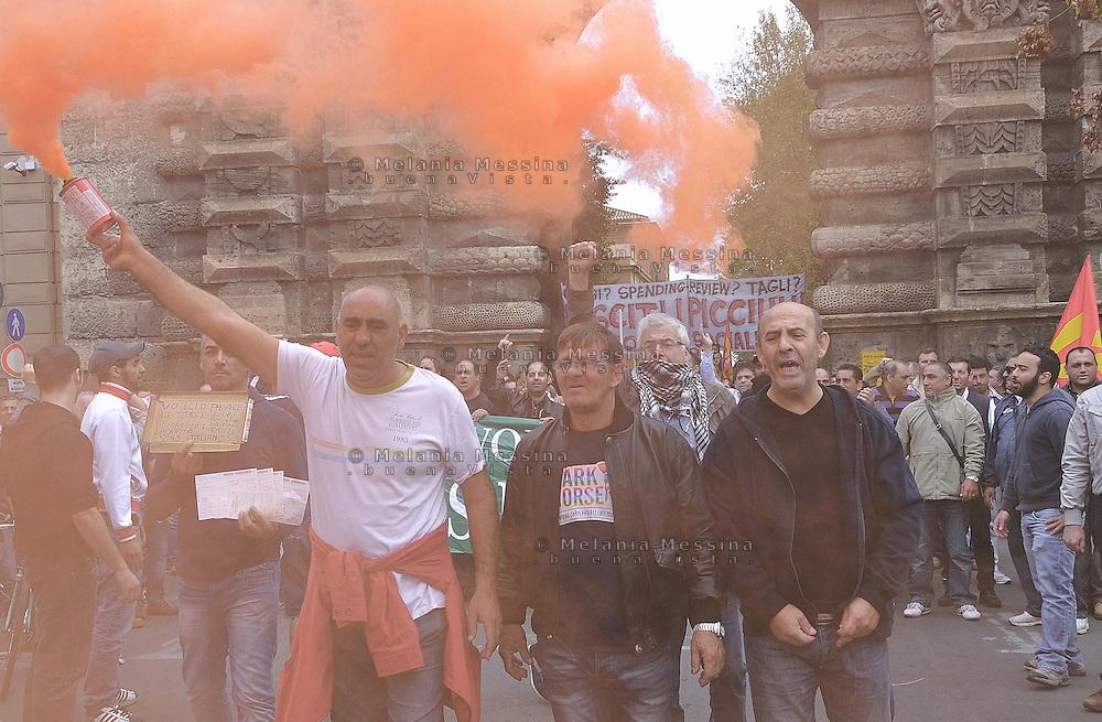 Palermo, march against government cuts and austerity, the workers of GESIP struggling for their job during the event...Palermo, corteo contro i tagli del governo voluti dall'Europa, gli operai della GESIP che lottano per il loro lavoro durante la manifestazione.