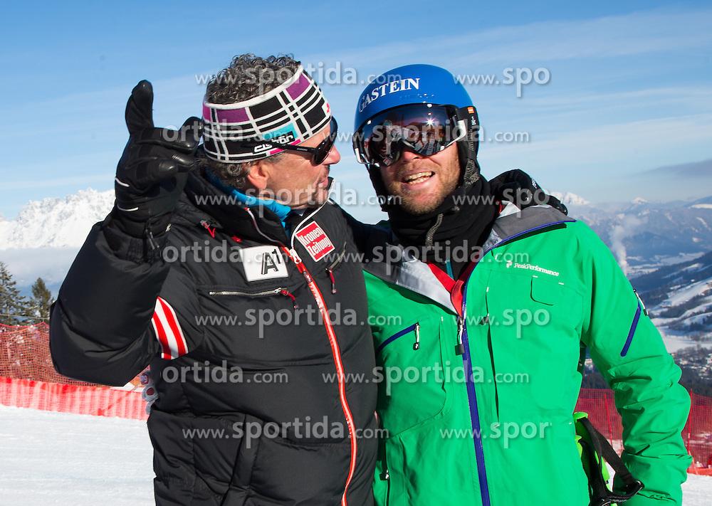 23.01.2013, Streif, Kitzbuehel, AUT, FIS Weltcup Ski Alpin, Abfahrt, Herren, 2. Training, im Bild Hans Grugger (AUT) und Mathias Berthold (OeSV Herren Cheftrainer) / former Ski racer Hans Grugger of Austria and Mathias Berthold (OeSV mens head coach) before 2nd practice of mens Downhill of the FIS Ski Alpine World Cup at the Streif course, Kitzbuehel, Austria on 2013/01/23. EXPA Pictures © 2013, PhotoCredit: EXPA/ Johann Groder